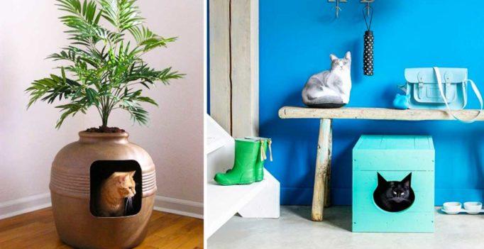 Famoso Nascondere la lettiera del gatto: 19 idee molto originali per  NF62